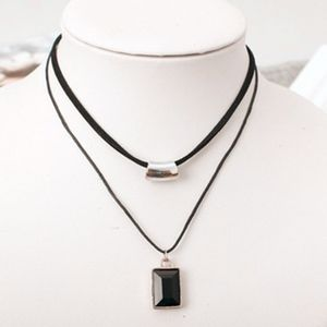 Jewelry - SOON Double Layer Black Leather Square Gem Choker